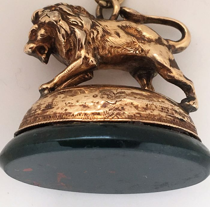 Antique Victorian Gold wax stamp in the form of a lion on Moss agate basement with possibility of inscription of monogramme - France-1840-1860