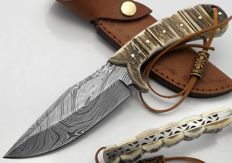 Top quality  handmade of 256 layers of damascus chef knife ( deer stag bone handle ) .razor blade sharp.
