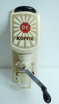 Douwe Egberts - coffee grinder with wooden lid - wall model