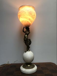 Table lamp with bronze mermaid on marble sphere and alabaster shade - Italy - 20th century