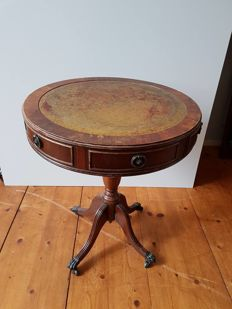 English side table with leather table top - England - 1st half 20th century