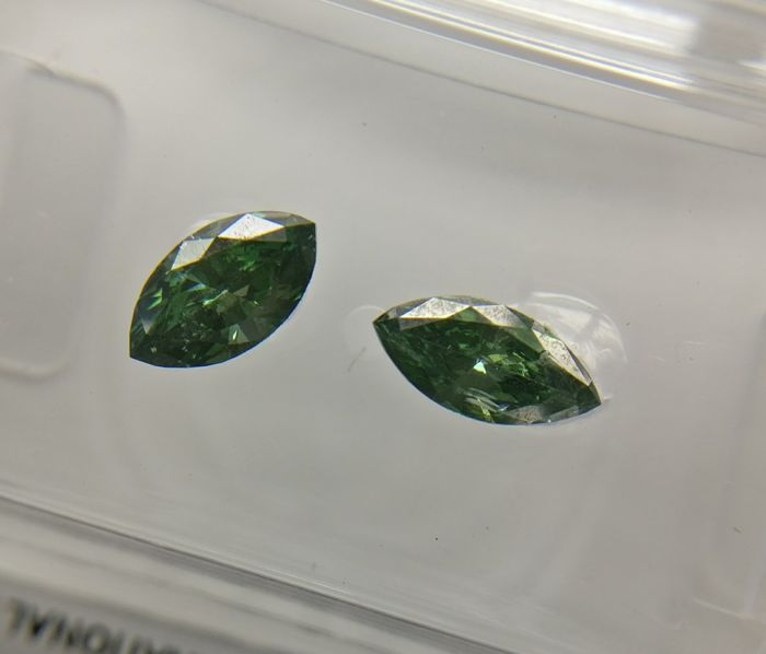 Lot of 2 Marquise cut diamond total 0.54 ct Fancy Deep Bluish Green SI1-SI2
