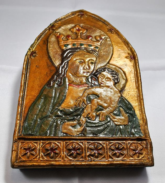 Antique ceramic icon, likely from Southern Germany