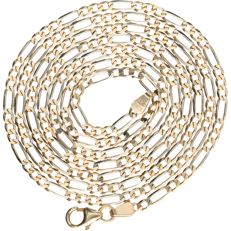 14 kt – Bi-colour, yellow/white gold Figaro link necklace – Length: 69 cm
