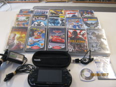 Sony Psp including 16 games , bag , sceenprotector , 2 adaptors. games like: Cars, Jac , Daxter and more