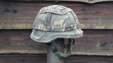 Dutch Kevlar army helmet (IYCO) with camouflage cover. Size M