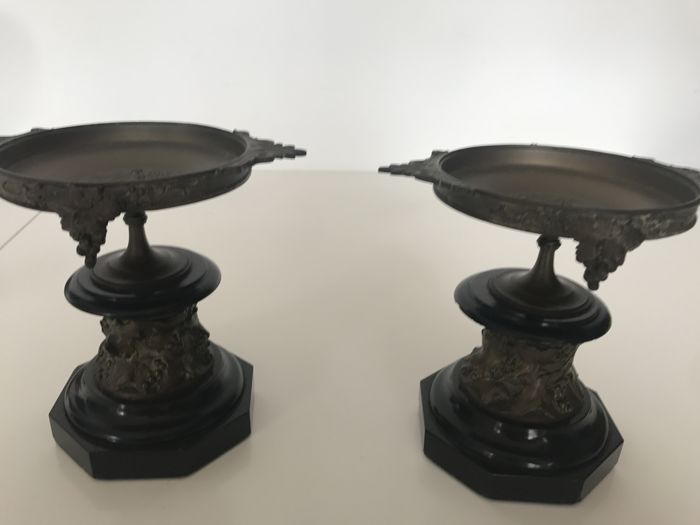 Pair of incense burners, black marble, gilded bronze,  Napoleon III period, 19th century