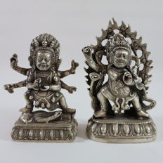 Two bronze Mahakalas on lotus throne - Tibet - late 20th/21st century