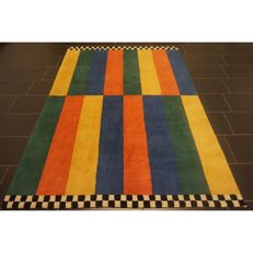 Handwoven carpet Gabbeh nomad's work, carpet wool on wool, Made in India, 245 x 180 cm mint condition