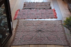 Woollen root canvas - Paisley motif, first half of the 20th century. 3 pieces