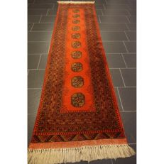 Old handwoven Art Deco oriental carpet 300 x 80 cm, Afghan prayer carpet, Made in Afghanistan