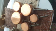 Heavy quality French copper saucepans set of five