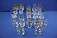 22 Crystal glasses / Zwiesel with gold edge / mouth-blown glass - poller gold.