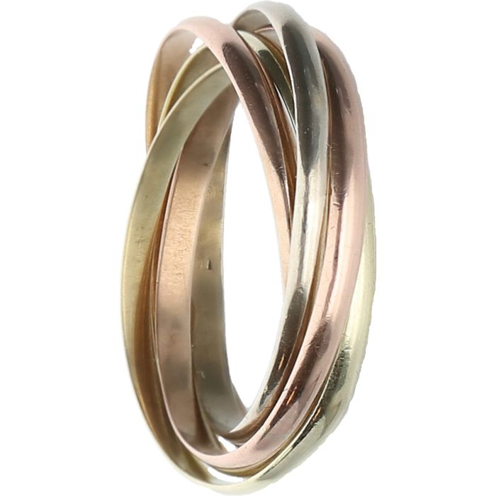 14 kt - Tri-colour yellow/white/rose gold ring, consisting of five separate rings - Ring size: 16.5 mm