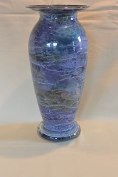 Jean Noël Bouillet (France) - Glass vase with reverse glass painting