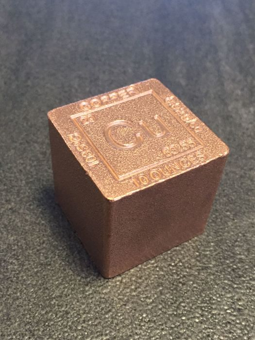 USA - 10 oz 999 copper cube - with melting point, atomic symbol, atomic number, atomic mass & density