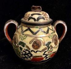 An early 20th Century , Satsuma  , Sugar pot and cover , Japan porcelain , hand painted with oriental subject