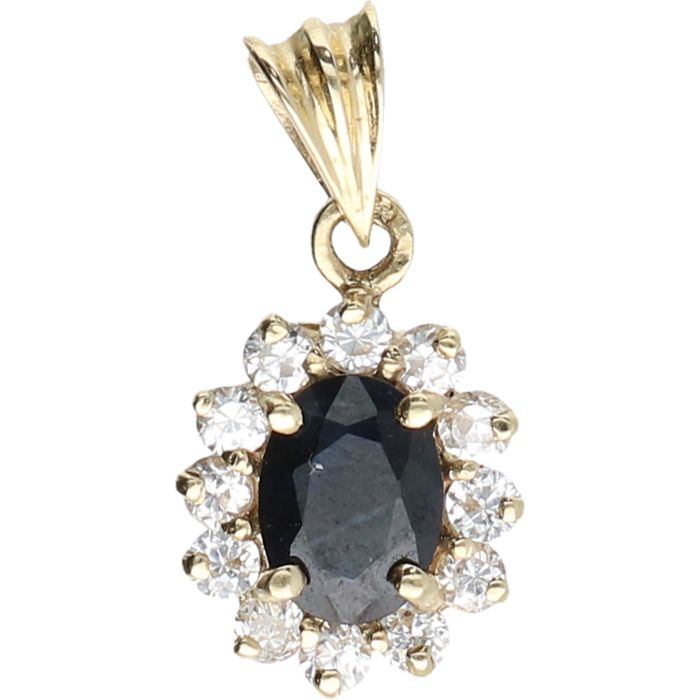 14 kt – Yellow gold pendant in the shape of a flower, set with 1 sapphire and 12 zirkonias – Length x width: 1.9 x 0.9 cm