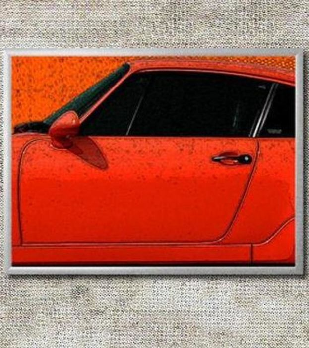 Porsche Design Image In 3 Aluminium Frames: 964 RS 911 Cup Red   41x31cm  Each, Total: 127x31cm