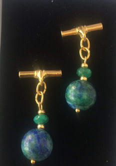 Vintage gilt Lapis Chrysocolla and faceted  Emerald  men's cuff links, ca. 1970