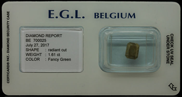 1.61 ct Certified Fancy Green Diamond  - NO RESERVE