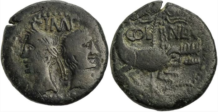 Nemausus. Augustus and Agrippa. Circa 16/5-10 BC. Æ As
