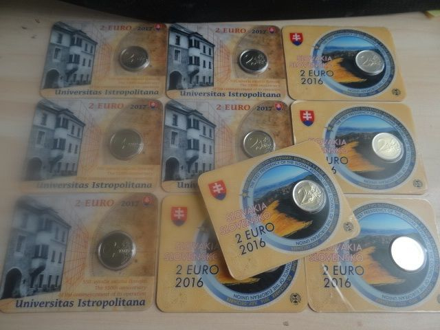 Slowakije 2 Euro 2016+2017 Coincards,(5 x 2016+ 5 x 2017) (Total 10 Pieces)