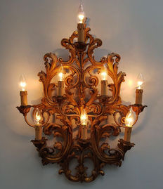 Large gold-plated Baroque style wall lamp, 20th century