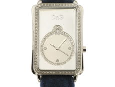 Dolce & Gabbana D&G Seaquest ladies' watch, blue velvet strap and Swarovski crystals — NEW condition