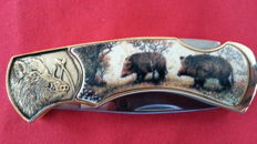 24 k gold plated hunting knife - the boar with protective cover, rarely offered