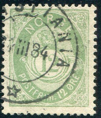 Norway 1883 - Unshaded Posthorn -  Yvert 40