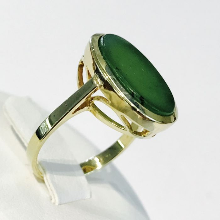 Gold women's ring 14 kt with green decorative stone – size 17 mm ***No Reserve***