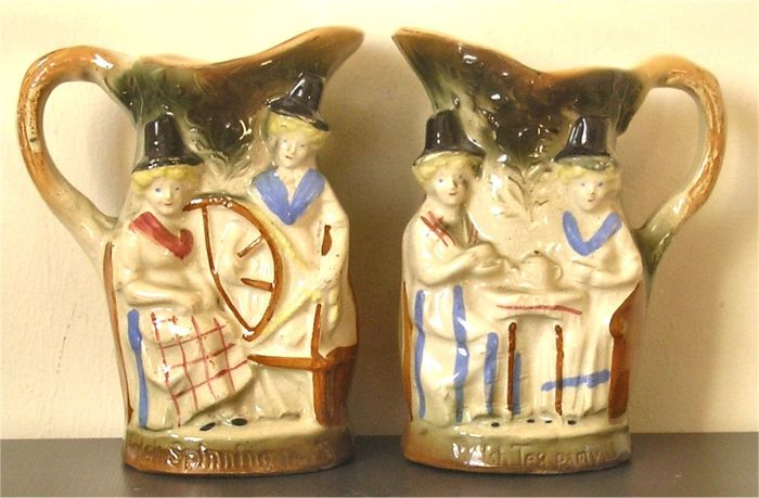 Pair of Staffordshire Creamware Welsh Souvenir Jugs - Early 19th Century