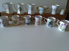 Colection of 12 bone china commemorative cups 6 Coverswall, 3 St. Jorge, 1 Paragon, 1 Aynsley, 1 Connoisseur