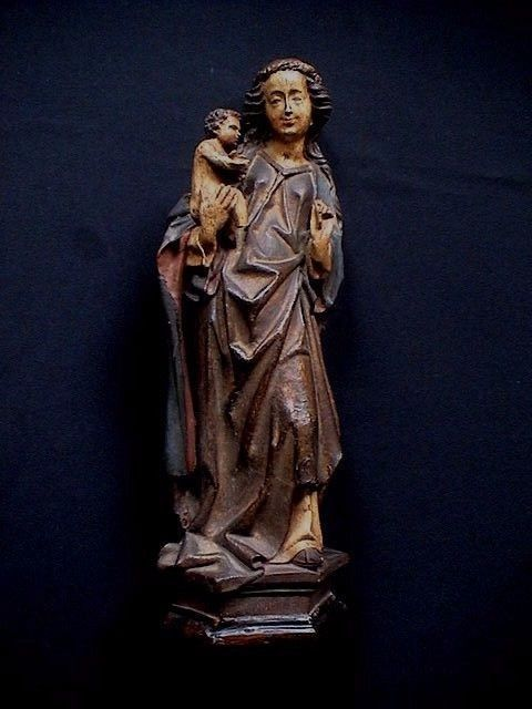 Hand-painted composite sculpture - Neo-Gothic Madonna - signed - Germany - beginning of 20th century