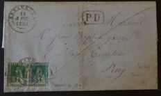 Tuscany 1857 – franking of 4 crazie and 2 crazie on letter from Seravezza to Pesey – Sass.  no. 14, 13a