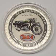 Cook Islands - 2 Dollars 2007 'Great Motorcycles - 1930 BSA Sloper' - 1 oz Silver