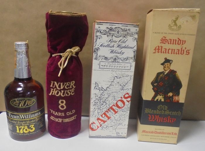4 bottles - Inver House 8 years, Evan Williams 10 years, Catto's and Sandy Marnab's.