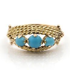 18 kt (750/000) yellow gold ring with turquoises – Size:  16 (Spain).