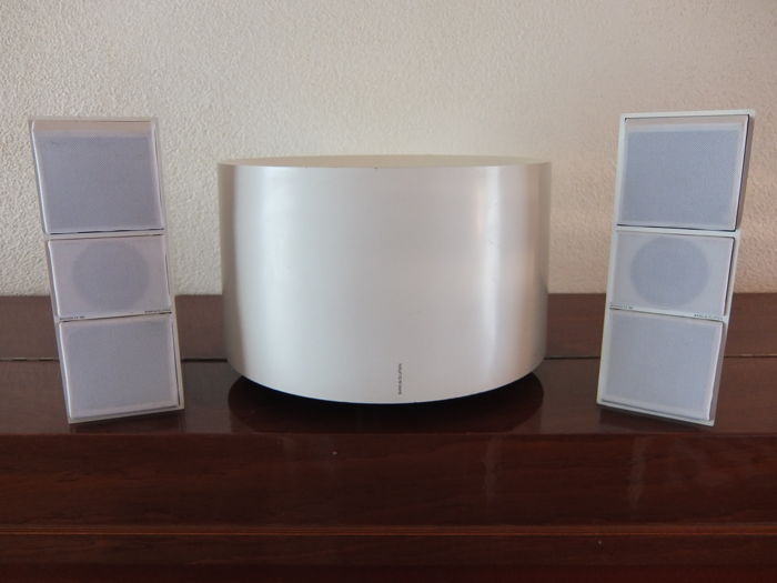 Bang & Olufsen cona subwoofer set with 2 CX100 speakers, white edition.