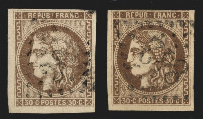 France 1870 - Burgundy Ceres 30 c. brown and dark brown, Calves signed - Yvert no. 47 and 47d