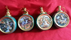 4 pieces Heirloom porcelain Christmas baubles, decorated with kittens.