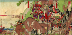 Woodcut triptych by Utagawa Yoshifuji (1828 - 1887) - Battle of Ichi-no-tani - Japan - 1887