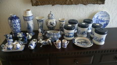 Lot of 25 Delft Blue hand painted items.