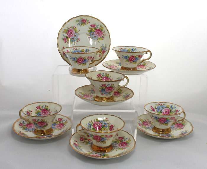 Lovely Vintage Hazel Sharon Porcelain Tea Set - 6 Place Settings, 12 Items