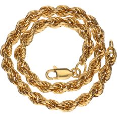 8 kt Yellow gold twisted rope link bracelet - Length: 22 cm