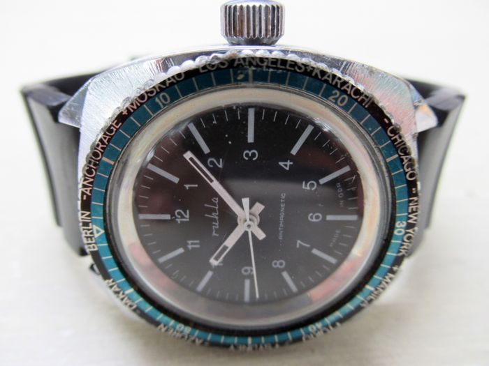 Ruhla UMF – Diver Worldtimer – men – 1960s