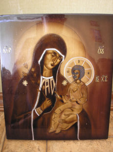 20 th century ortodox russian icon of Virgin Mary  hand painted