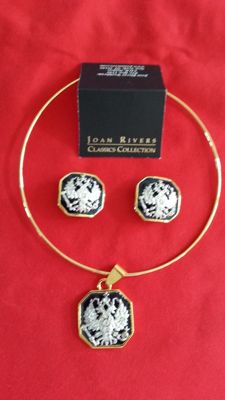 Joan Rivers, an Imperial Russian eagle pendant necklace and clip-on earrings, signed