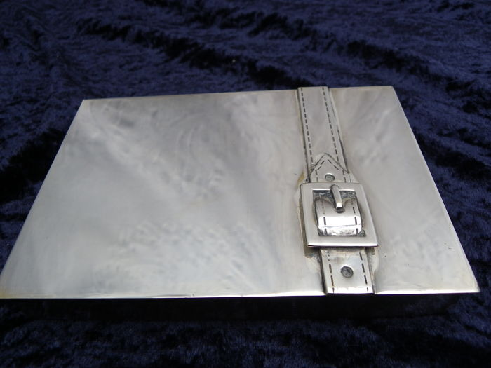 Maria Pergay - 20th century modernist silver plated iconic belt buckle box. (Exhibited London, Paris & New York)